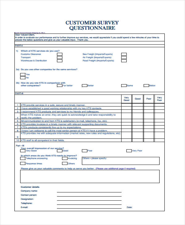 customer survey questionnaire form1
