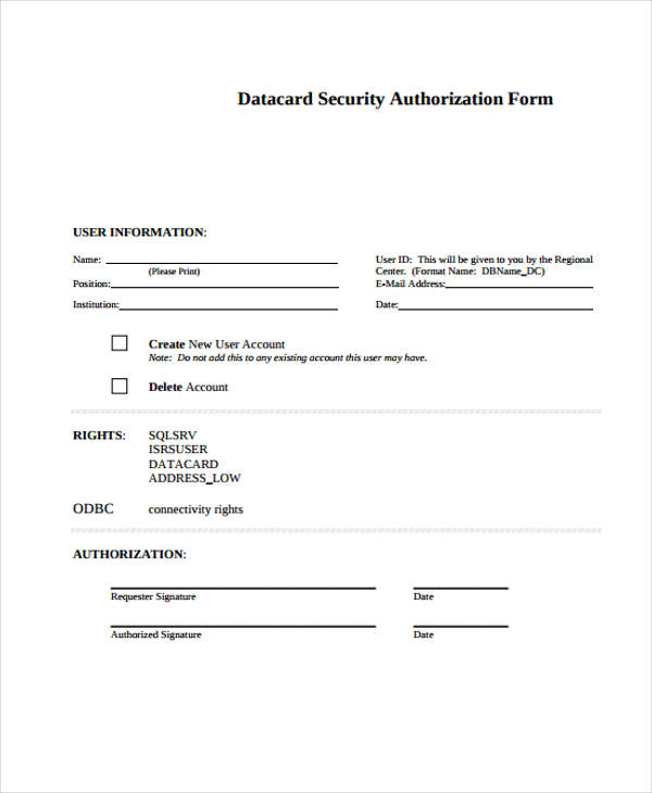 data card security authorization form
