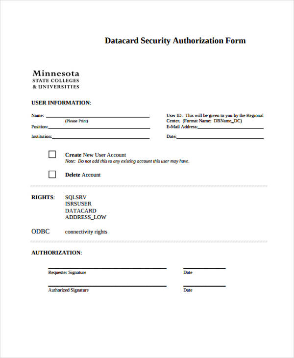 datacard security authorization form