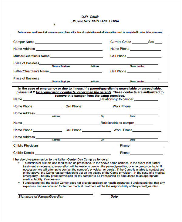 day camp emergency contact form