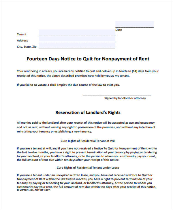 day notice to quit form