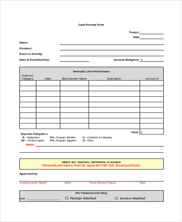 printable receipt forms 41 free documents in word pdf