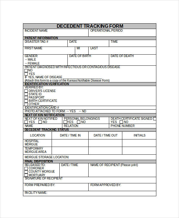 decedent tracking form in doc