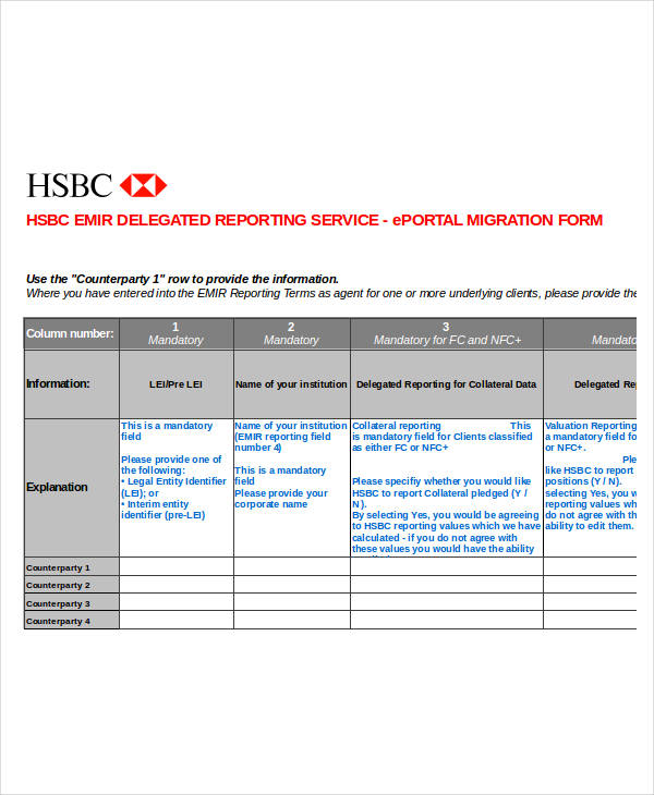 delegated reporting service form