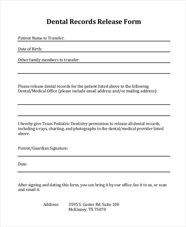dental medical records release form - Medical Records Release Form