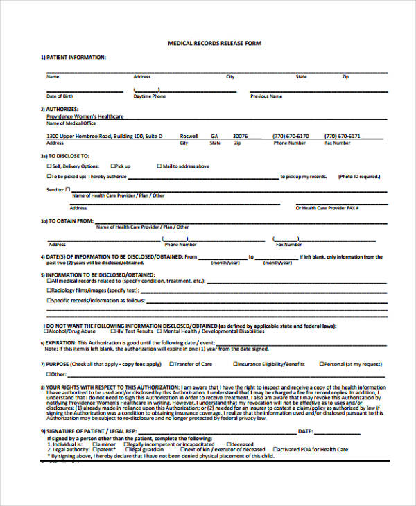 dental medical records release form5