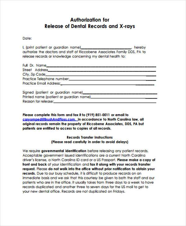 dental patient authorization release record form