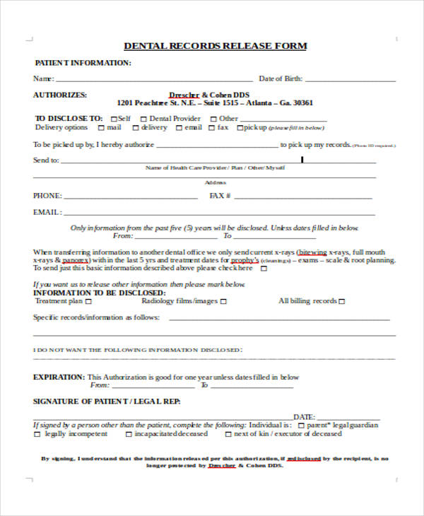 dental patient records release form