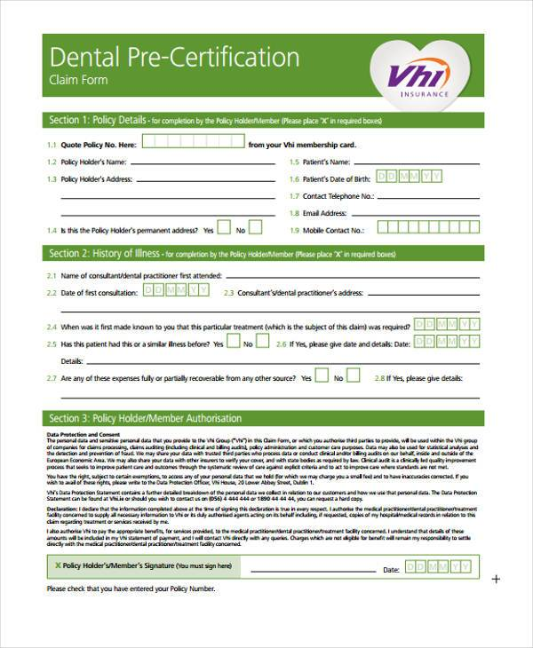 dental pre certification form