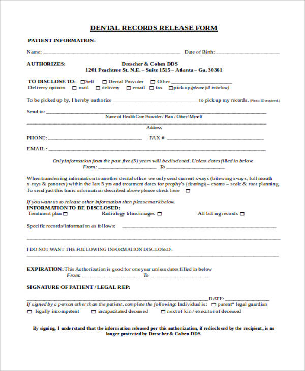 Patient Records Release Forms
