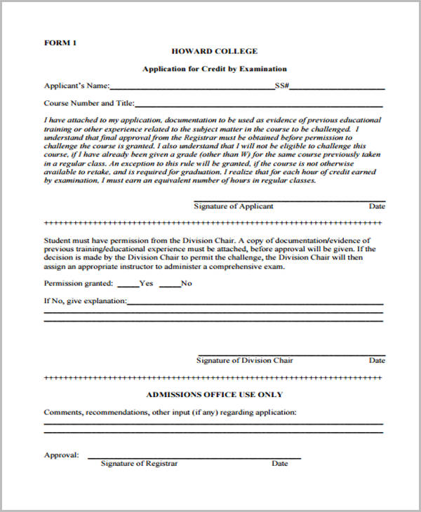 departmental exam challenge credit application form