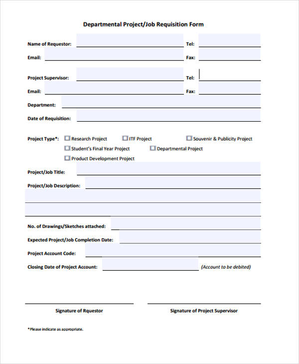 departmental job requisition form
