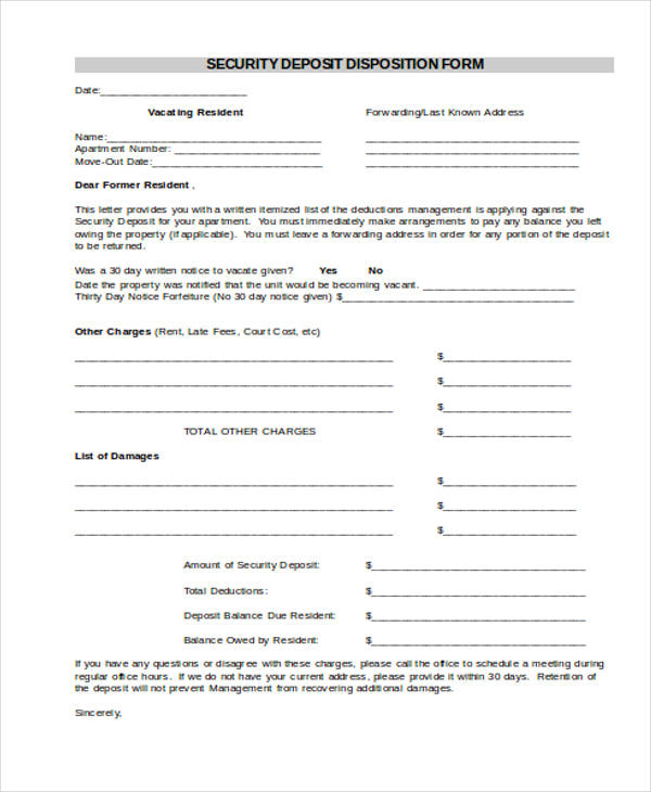deposit disposition form