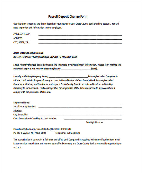 Printable change form for Payroll change notice form template