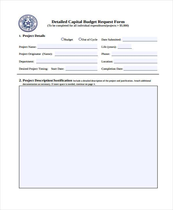 detailed capital budget request form