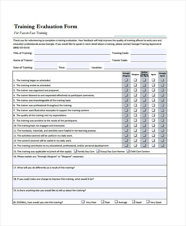 developing face to face training evaluation form