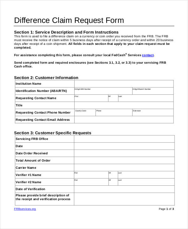 difference claim request form
