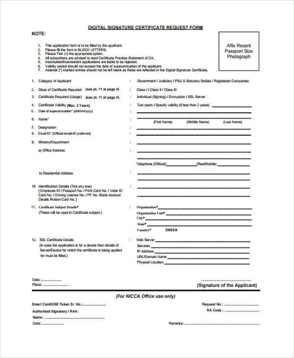 digital signature certificate request form1