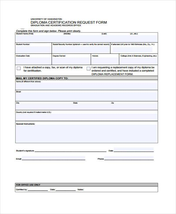 diploma certificate request form