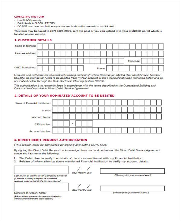 direct debit service agreement form