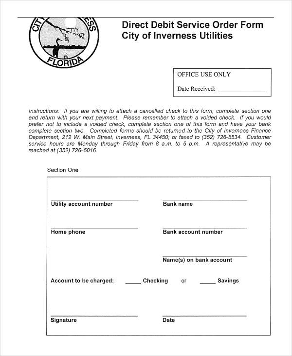 Direct Debit Service Order Form