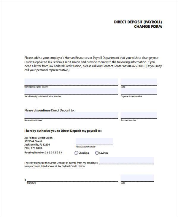 direct deposit payroll change form