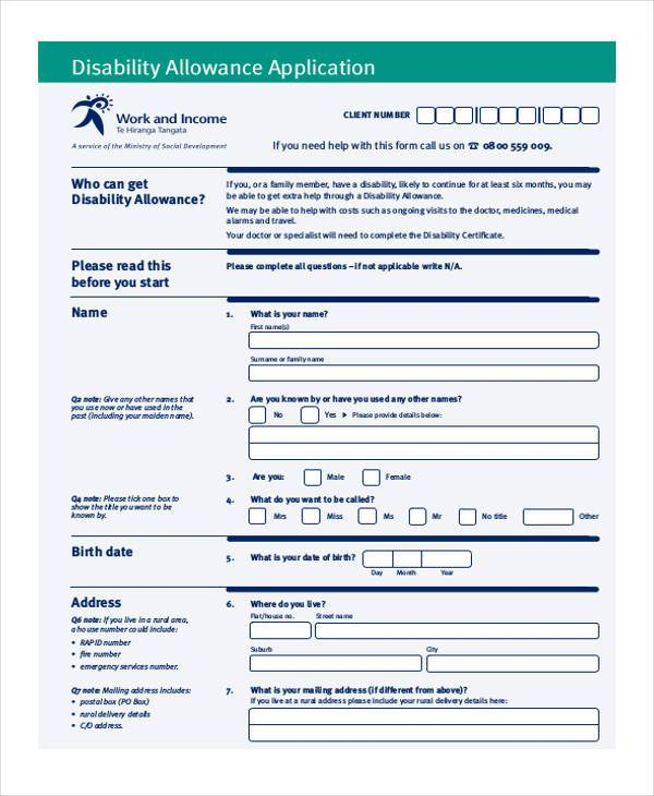 disability allowance application form