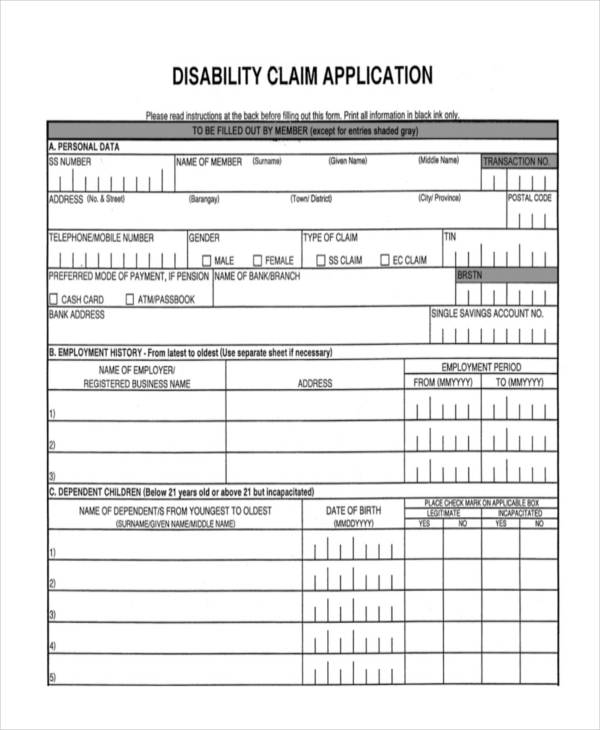 disability claim application form
