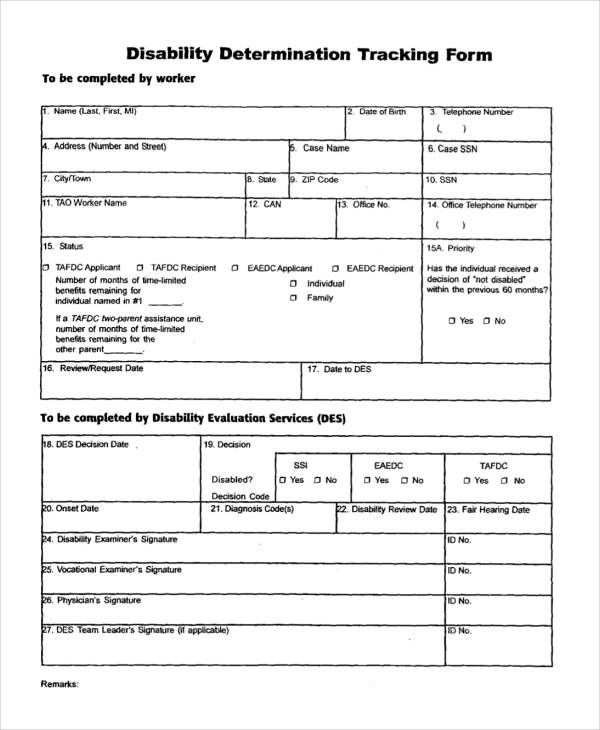 disability determination tracking form