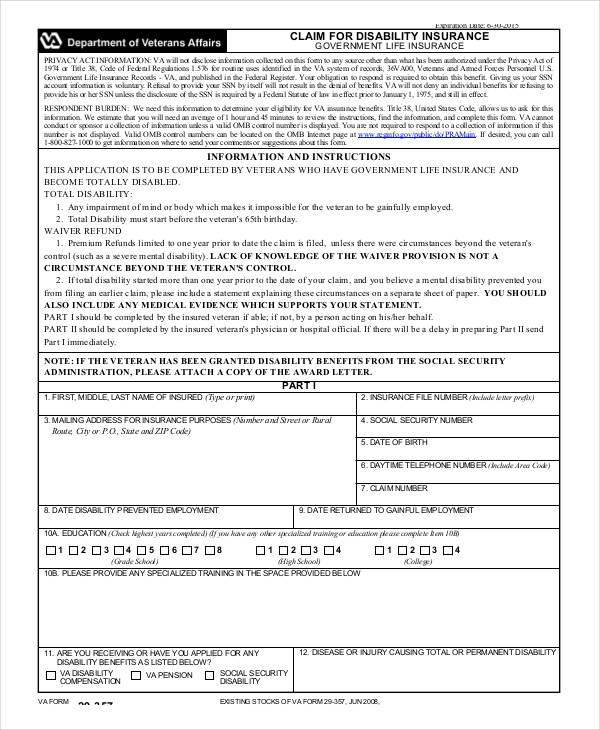 disability insurance claim form2