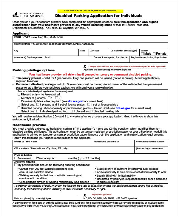 disability parking application form example