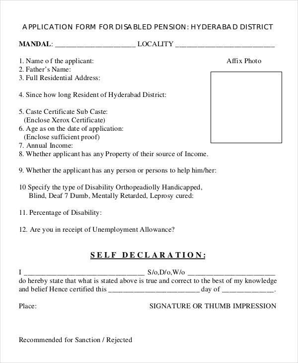 disability person application form