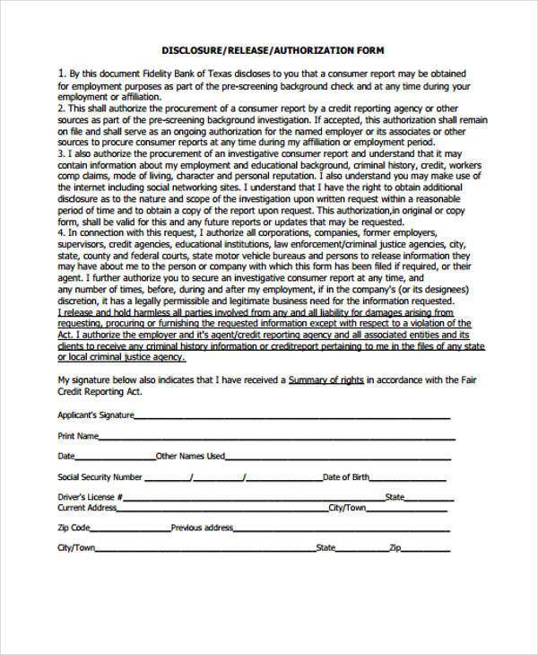 disclosure release authorization form