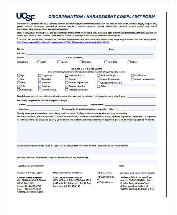 Discrimination And Harassment Complaint Form
