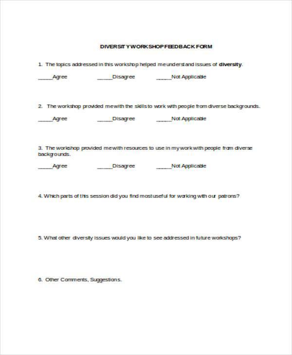 diversity workshop feedback form