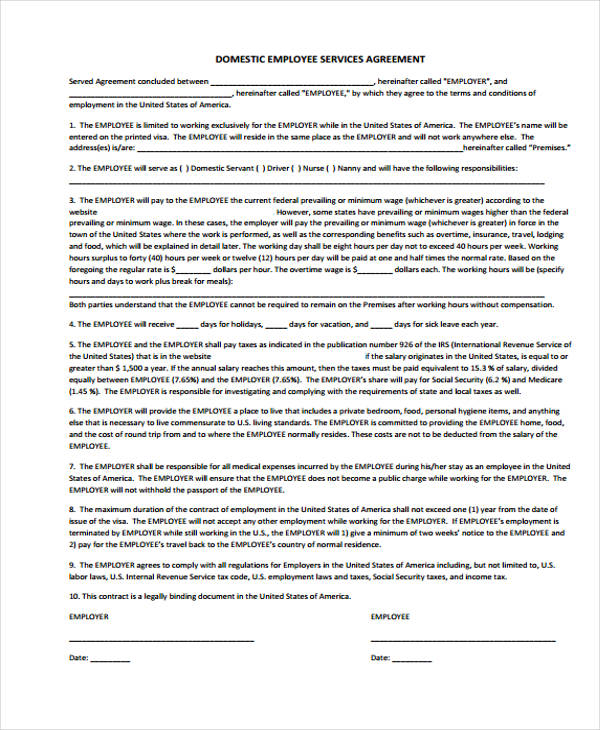 domestic employee service agreement form