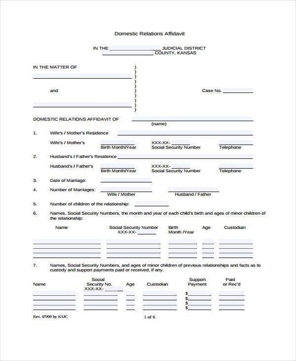 domestic relations affidavit form1