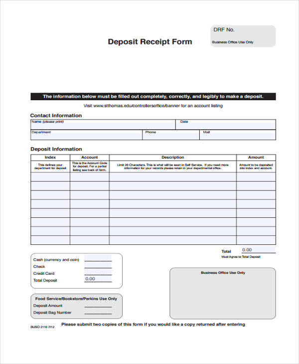 Printable Receipt Forms 41 Free Documents in Word PDF – Down Payment Receipt Form