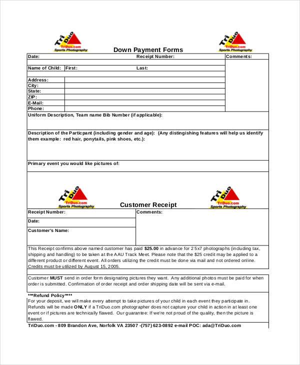 down payment receipt form1