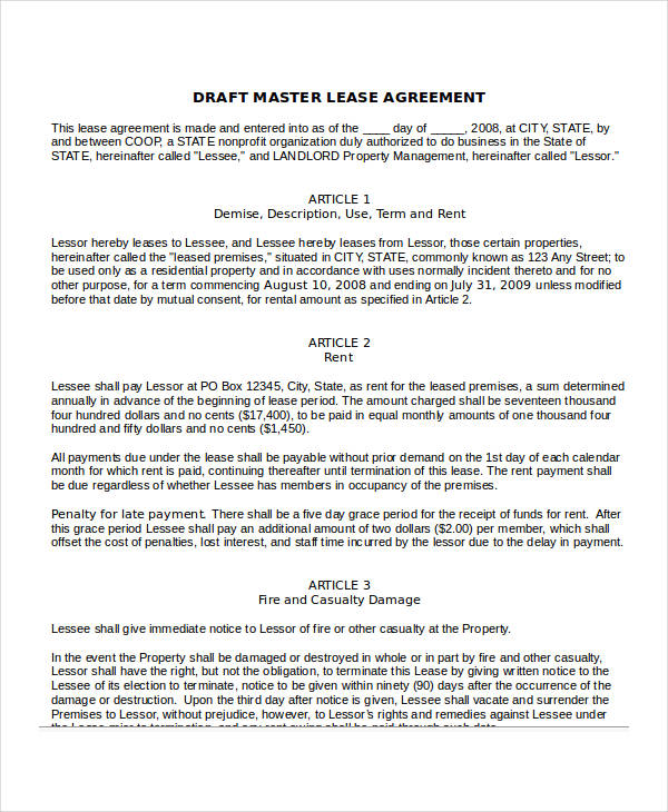 Draft Master Lease Agreement