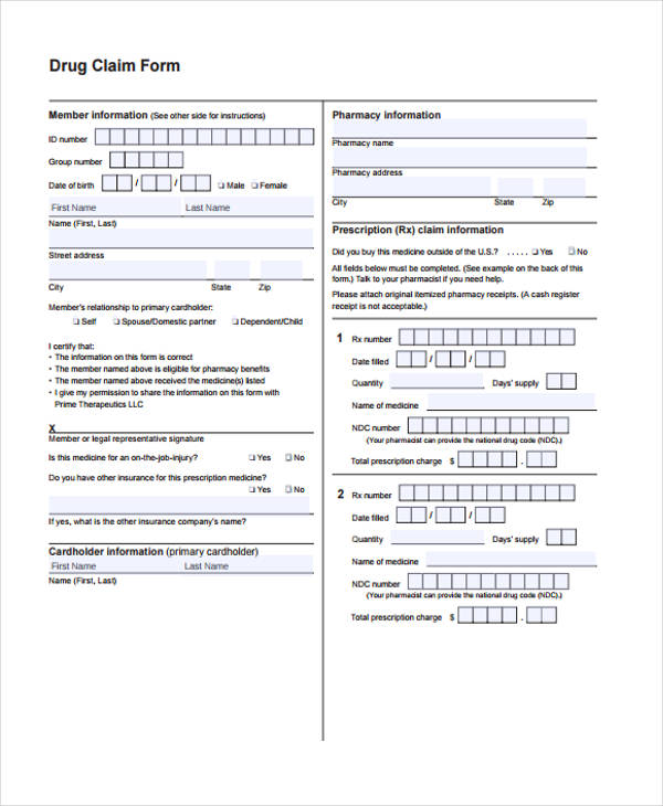 drug claim form in pdf