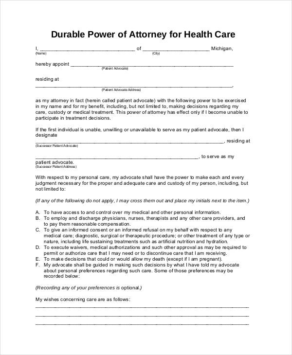 free durable power of attorney for health care form michigan