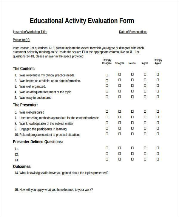 education activity evaluation form