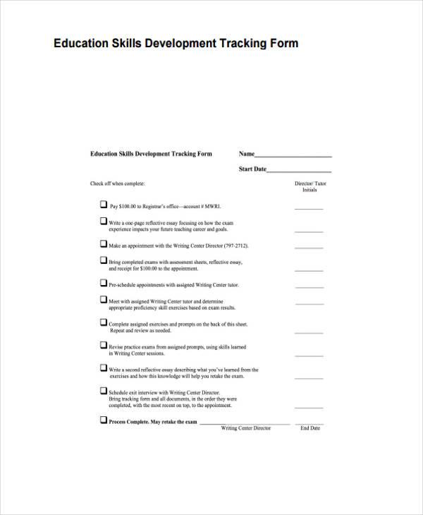 education development tracking form