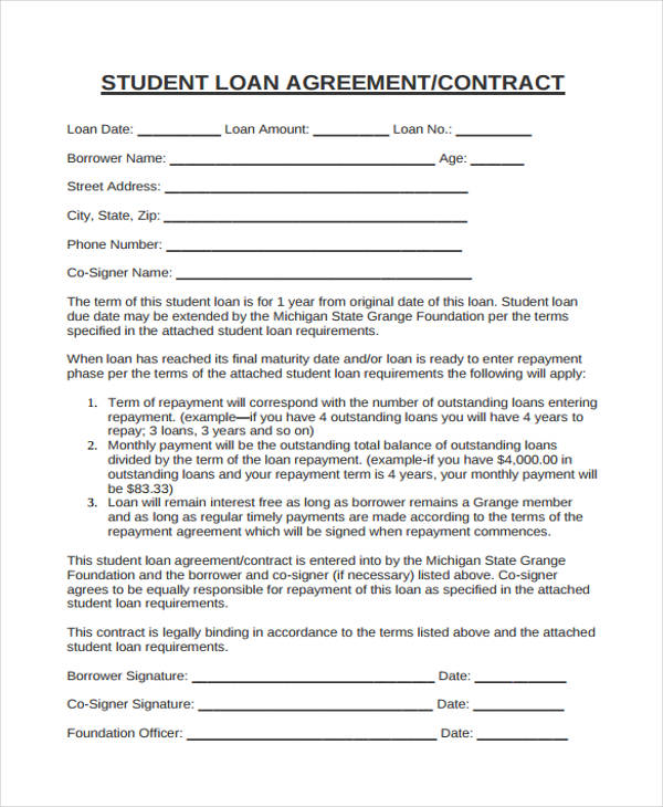 educational support loan agreement form