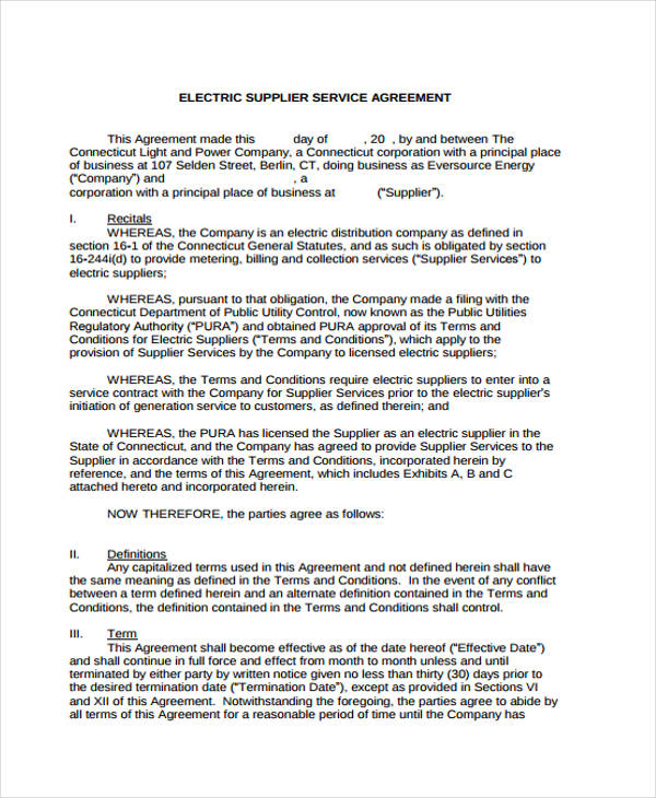 electric supplier service agreement form