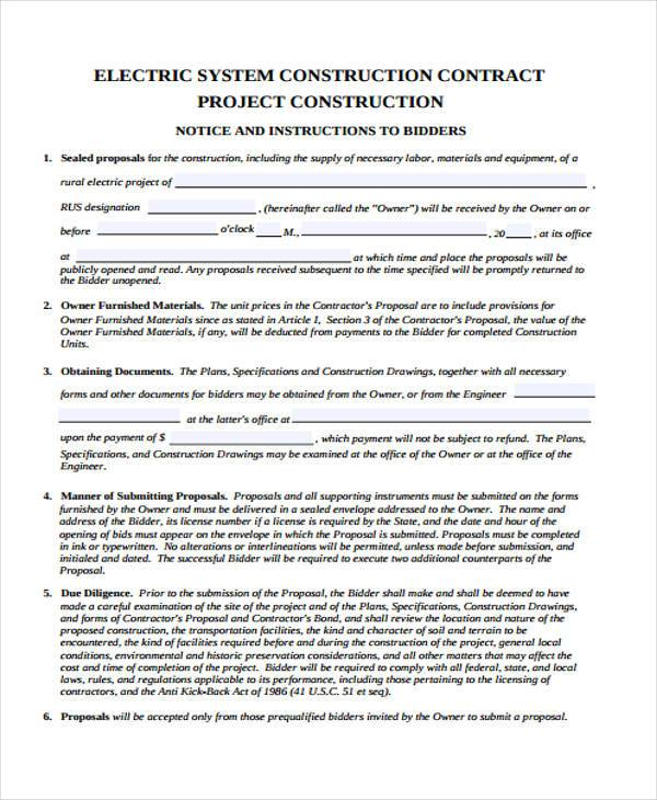 Proposal form templates for Contract for building a house