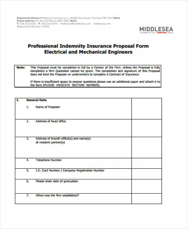 electrical proposal form for free