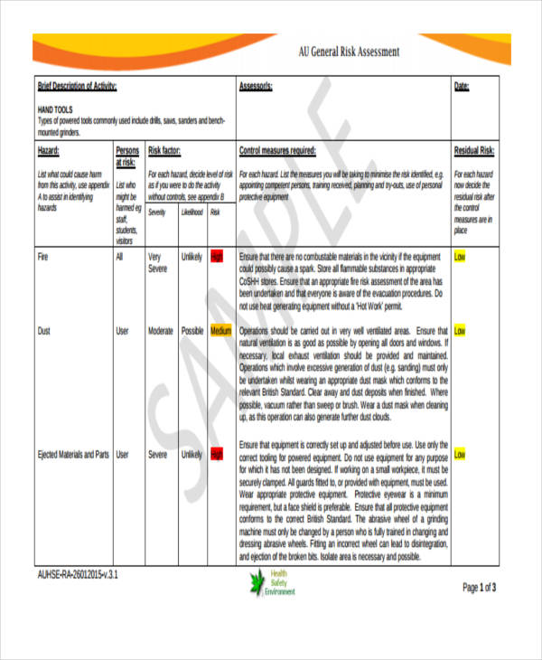 electricians generic risk assessment form