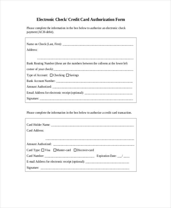 12+ Check Authorization Form Sample - Free Sample, Example, Format